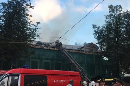 Появилось видео с места пожара в Литературном музее на улице Минина