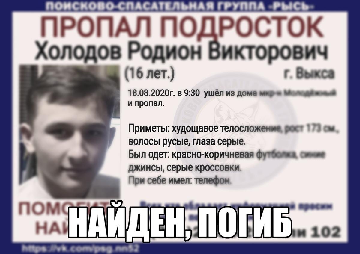 Пропавший без вести в Выксе подросток найден погибшим - фото 1